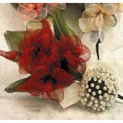 Ramo Sinamey 3 Flores Burdeos (alfileres no incluidos)