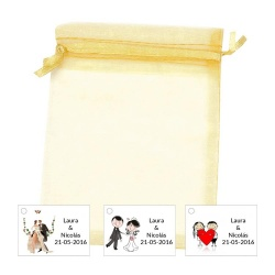 Bolsa de organza con tarjeta o pegatina para decorar