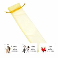 Bolsa de organza con tarjeta o pegatina para decorar regalos