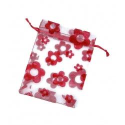 Bolsas de organza con flores roja para regalos