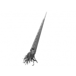Trompeta plata metalizada con espumillón
