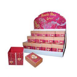 Pack de 12 cajas rojas con corazones en expositor.
