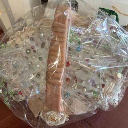 MEGA OFERTON. Pack de 100 alfileres con cesta, encaje  y envoltorio.